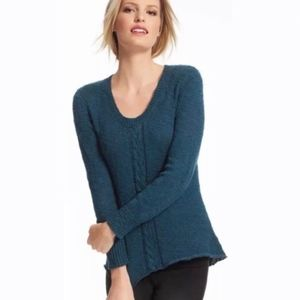CAbi | 470 teal peacock blue cable knit sweater S